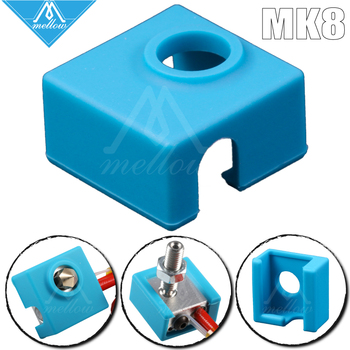 Mellow high quality heater silicone socks for MK8/MK9 heated block hotend ender 3 Prusa I3 CR10 nozzle 3D Printer parts 1pc blue pink black mk7 mk8 mk9 silicone socks for ender creality cr 10 anet reprap tronxy x5s silicone heater block cover