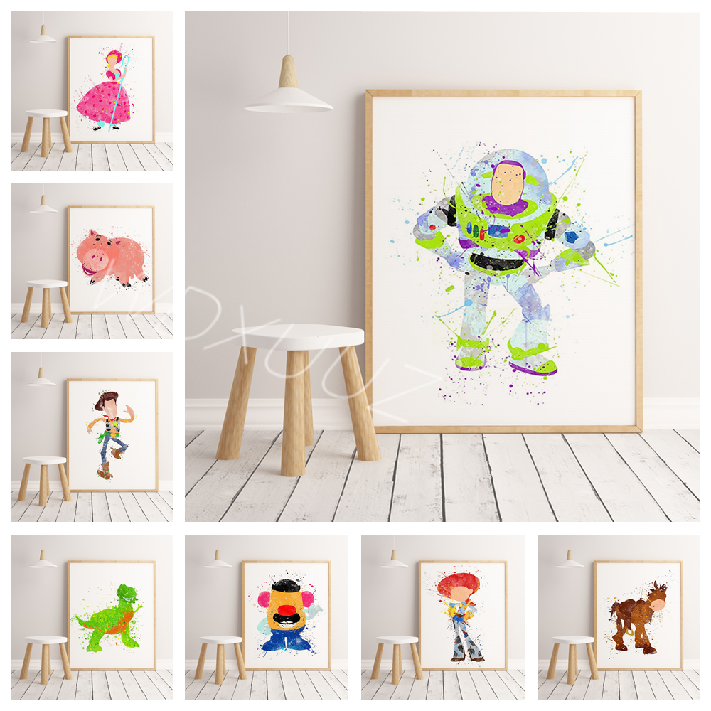 Popular toy cartoon characters watercolor poster hight quality Art Decor  for Children's room duvar tablolar No Frame o714