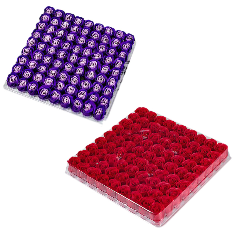 2Box Red/Purple Color Rose Bath Body Flower Floral Soap Scented Rose Flower DIY Gifts(1Box/81Pcs)
