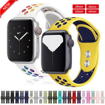цена на Silicone Sport Strap For Apple Watch band Series 5 4 3 2 42mm 44mm 38mm 40mm Bracelet Strap Rubber For iWatch 4 3 2 Replacement