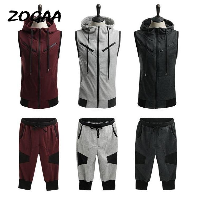 ZOGAA 2020 Men Summer Hoodie Sleeveless Sweatshirt Set Drawstring Solid Calf-Length Tracksuit Men 2Pcs Sportswear Men Track Suit