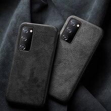 Süet deri telefon kılıfı için Samsung Galaxy S20 FE artı inek derisi kapak için not 20 Ultra s21
