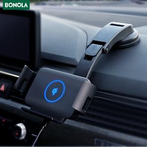 Image 1 - Bonola הידוק אוטומטי אלחוטי מטען לרכב הר עבור iPhone 11 XR 8 בתוספת רכב אלחוטי מטען עבור סמסונג S20 בתוספת הערה 20