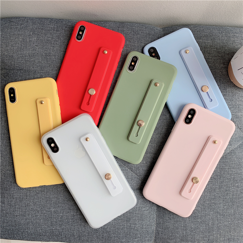 Wrist Hand Band bracket silicone Phone case fundas For iphone 11 Pro Max XR XS MAX X 7 8 6 6S Plus Candy color soft cover coque