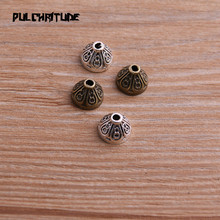 40pcs 7*10*10mm Two Color Bead Caps Charm Hollow Flower Pendants Jewelry Accessories DIY Receptacle Charms