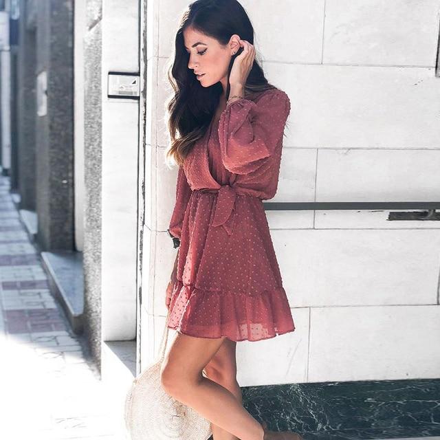 2020 Summer Women Ruffles Lace Chiffon Dress 2