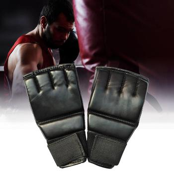 Black Fighting Sports Leather Gloves Tiger Boxing Muay Thai Boxing Gloves Boxing Sanda Boxing Half Finger Gloves 2