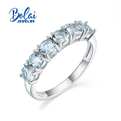 Bolai,Natural Brazil aquamarine Ring round 4mm 925 sterling silver fine jewelry for women simple daily wear ring gift for wife