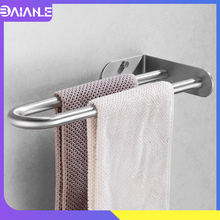 цена на Towel Holder Stainless Steel Doubel Towel Bar Holder Bathroom Towel Rack Hanging Holder Wall Mounted Toilet Clothes Hanger Shelf