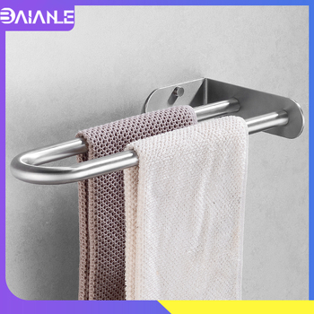 Towel Holder Stainless Steel Doubel Towel Bar Holder Bathroom Towel Rack Hanging Holder Wall Mounted Toilet Clothes Hanger Shelf towel holder stainless steel doubel towel bar holder bathroom towel rack hanging holder wall mounted toilet clothes hanger shelf