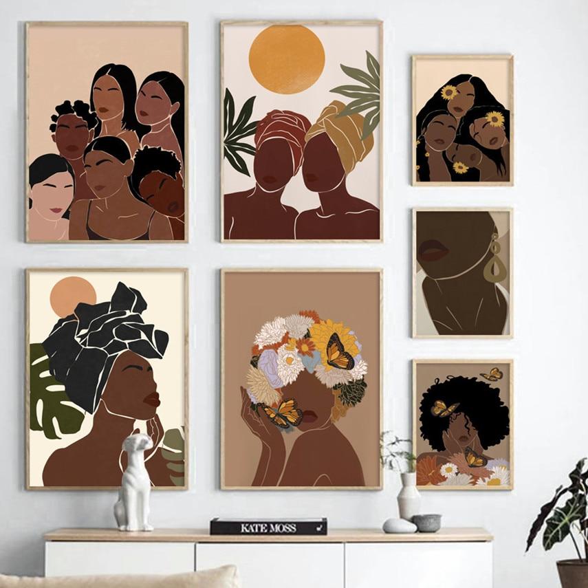 Afrika siyah kız çizim soyut sanat tuval boyama İskandinav posterler ve baskılar duvar resimleri için oturma odası ev dekor