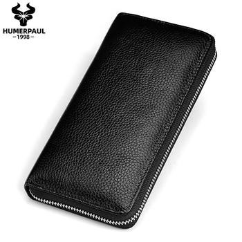 2020 Men Wallet Clutch Genuine Leather Card Holder Coin Purse Zipper Male Long Organizer Cell Phone Clutch Bag High Quality new trend vintage fashion men long wallet men split leather wallet card holder male zipper purse coin purse male clutch bag