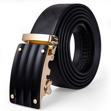Hi-Tie Famous Brand Men Belt Cowhide Genuine leather Black Belt Automatic Gold Buckle High Quality Business Male Men's Belts цена