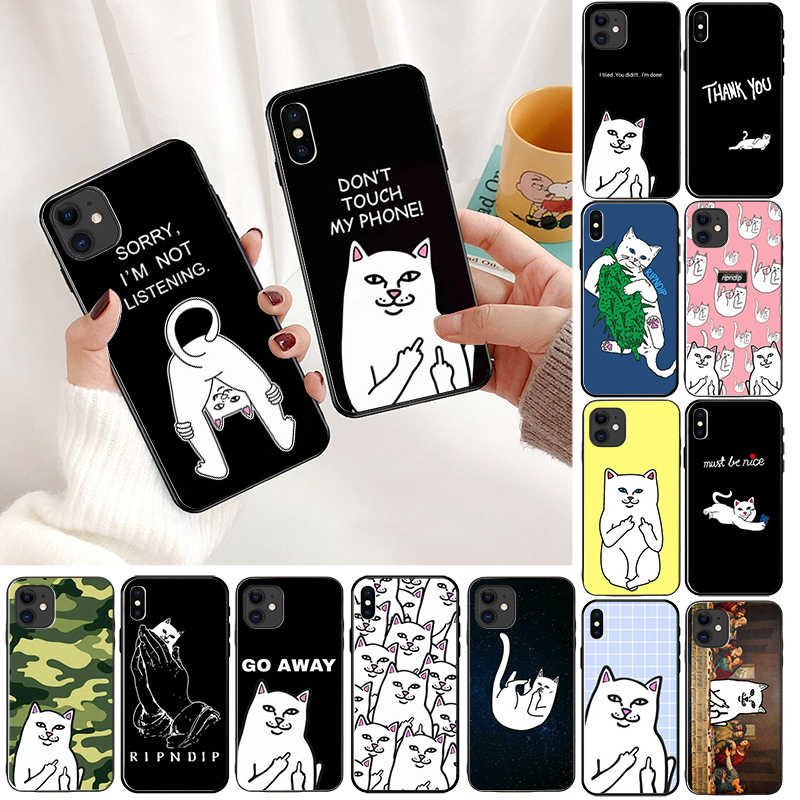 Kat Telefoon Case Voor iphone 11 pro max 7 8 6 6S Plus 5 5S SE XS Max XR X Cartoon Siliconen Kuso Protecive Back Phone Case Cover