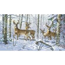 Qualidade superior bela contagem ponto cruz kit floresta inverno veados animal na neve montanha dim 35130