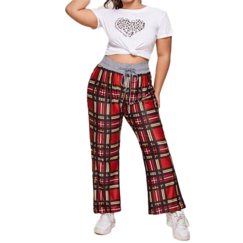 Plus Size Pants Sweatpants Women Baggy Casual Loose Drawstring Geometric Trousers Women Pantalones De Mujer Sports Women Clothes