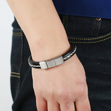 Personality Simple Stainless Steel Magnet Buckle Imitation Leather Bracelet Fashion Leisure Student Men's Jewelry Accessories(China)