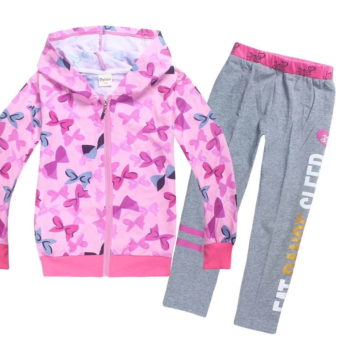 JOJO Siwa/зимняя детская одежда для малышей, футболка с длинными рукавами топы для девочек, толстовки + штаны, комплект из 2 предметов, одежда для