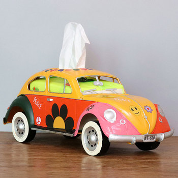 Flower Retro Iron Bus Tissue Box Model Figurines Car Craft Home Decoration Accessories for Living Room Ornaments for Home Decor 12
