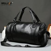 Men Travel Duffle Bag PU Leather Men's Travel Bags Male Shoulder Handbag Round Bucket Shape Hand Bags Fashion Tote Black X35C