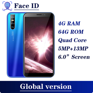 F2 Pro Unlocked Mobile Phones Android Quad Core 4G RAM 64G ROM Celulares Face ID MTK6580 Smartphones 6.0 inch Wifi Cell Phones