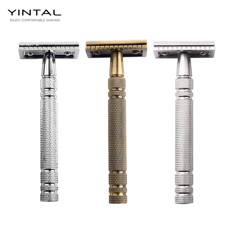 Mens Classic Double-sided Manual Razor Long Brass Handle 3-piece Safety Razor