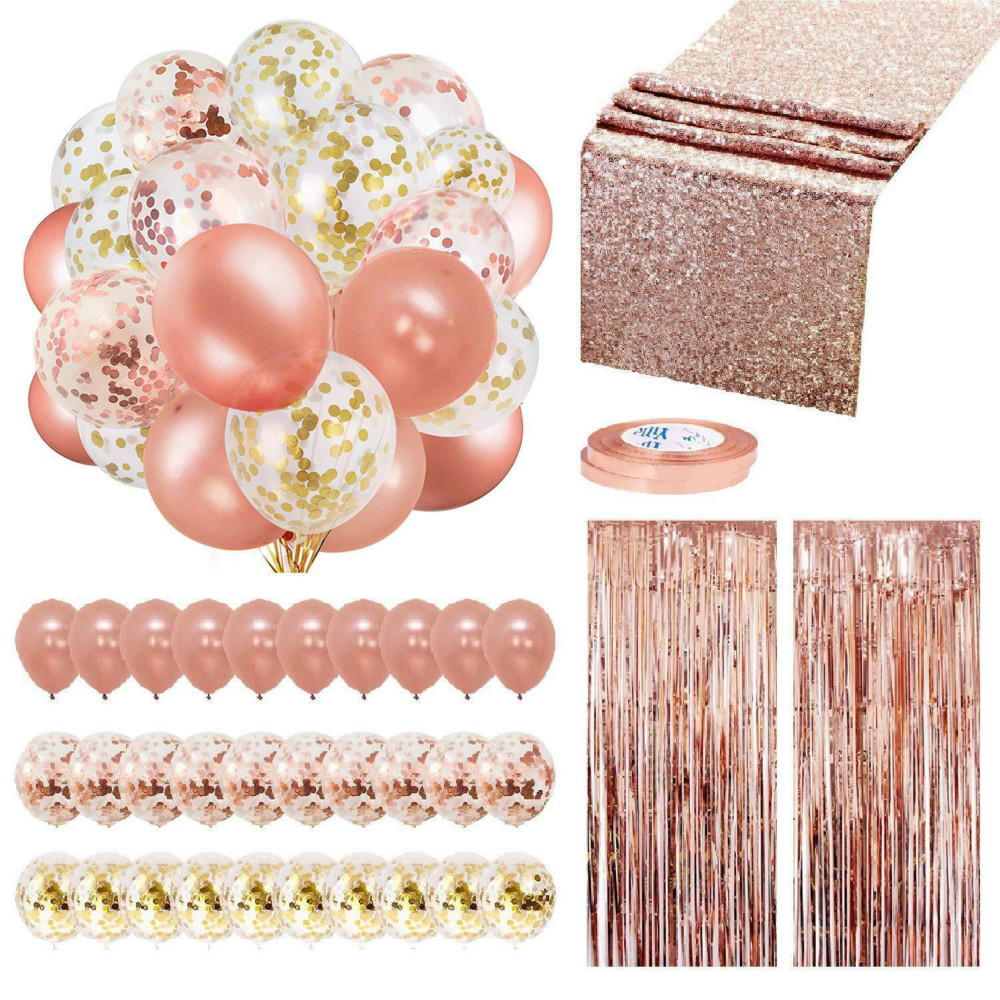 Rose Gold Balloons Confetti Set Birthday Party Wedding Decoration Anniversary Ballon Metallic Suit Aluminum Foil Curtain Sequin