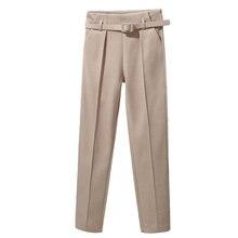Элегантные женские брюки с поясом новинка 2020 однотонные шаровары