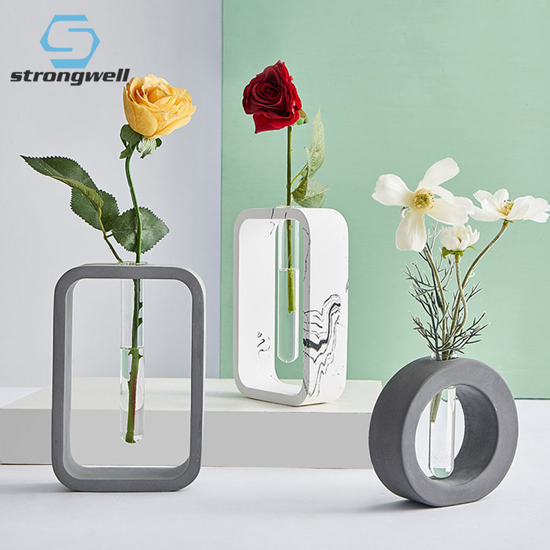 28.29US $ 45% OFF Strongwell Nordic 3D Modern Art Solid Cement Flower Vase Glass Crafts Creative Hom...