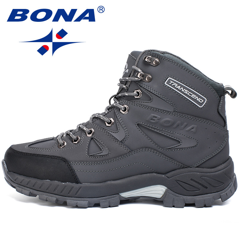 BONA 2019 New Designers Nubuck Leather Ankle Warm Boots Men Winter Shoes Snow Boots Shoes Man Outdoor Boots Plush Winter Shoes