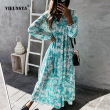 2021 Summer New Flower Print Loose Dress Fashion Lace-Up Drawstring V Neck Long Dress Women Elegant Long Sleeve Party Dress XXL