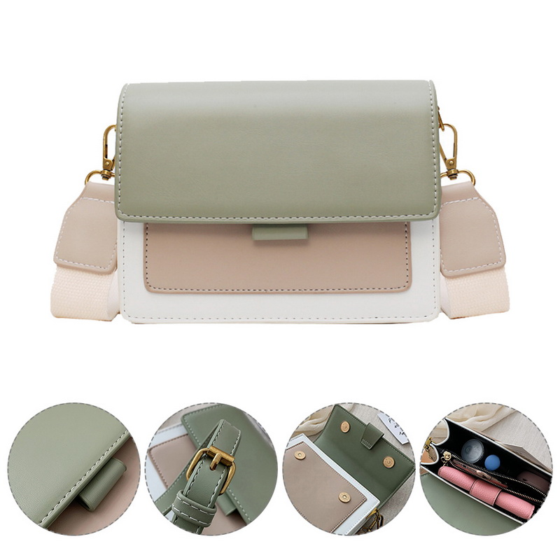 Litthing Contrast color Leather Crossbody Bags For Women 2019 Travel Handbag Simple Shoulder Messenger Bag Ladies Cross Body Bag in Shoulder Bags from Luggage Bags