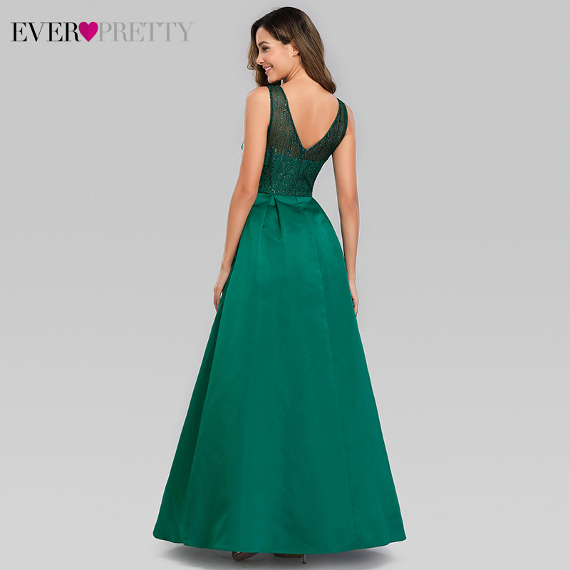 Elegant Dark Green Evening Dresses Long Ever Pretty EP00839DG A Line Double V Neck Sparkle Formal Party Gowns Vestido Longo 2019 in Evening Dresses from Weddings Events