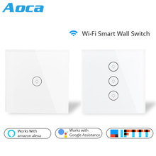 Wifi Smart Wall Touch Switch Glass Panel EU Standard APP Remote Control Works with Amazon Alexa Google Home for Smart Home lemaic wifi smart switch waterproof touch panel w app remote control amazon alexa google home timing function for eu plug