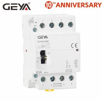 GEYA GYHC 4P 40A 63A 4NO or 2NC2NO 220V/230V 50/60HZ Din Rail Household AC Modular Contactor Manually Operation 2p 32a 40a 63a 220v 230v 50 60hz din rail household ac contactor 2nc