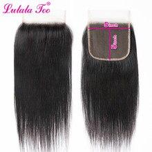 Fechamento reto brasileiro do laço do cabelo humano do fechamento do laço de 5x5 parte livre 10-20 Polegada cabelo remy da cor natural