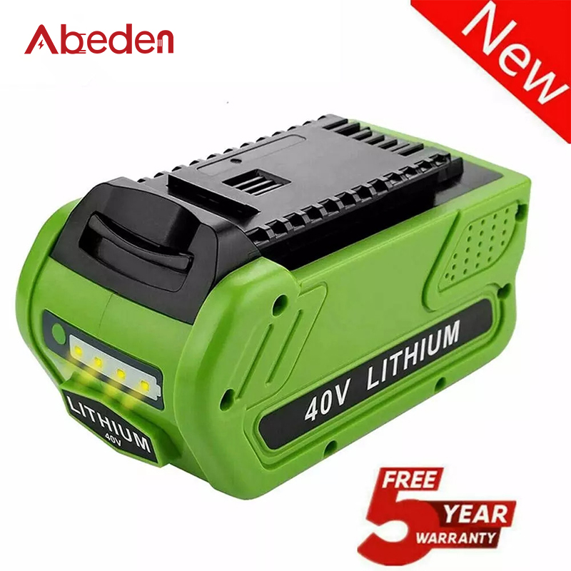 Abeden 6000mAh Rechargeable Lithium Ion Battery for Greenworks 40V Li-ion Replacement Battery 29472 29462 G-MAX Power Batteries