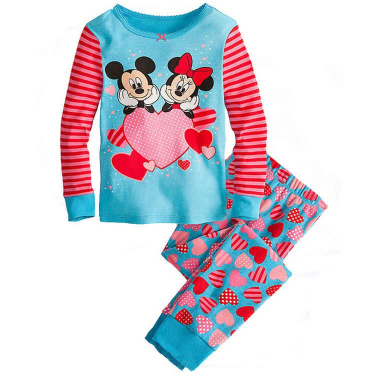 2019 Anak-anak Anak Gadis Pakaian Piyama Set 100% Kapas Anak Baju Tidur 2 Buah Kartun Atasan + Celana Anak Anak Pakaian piyama