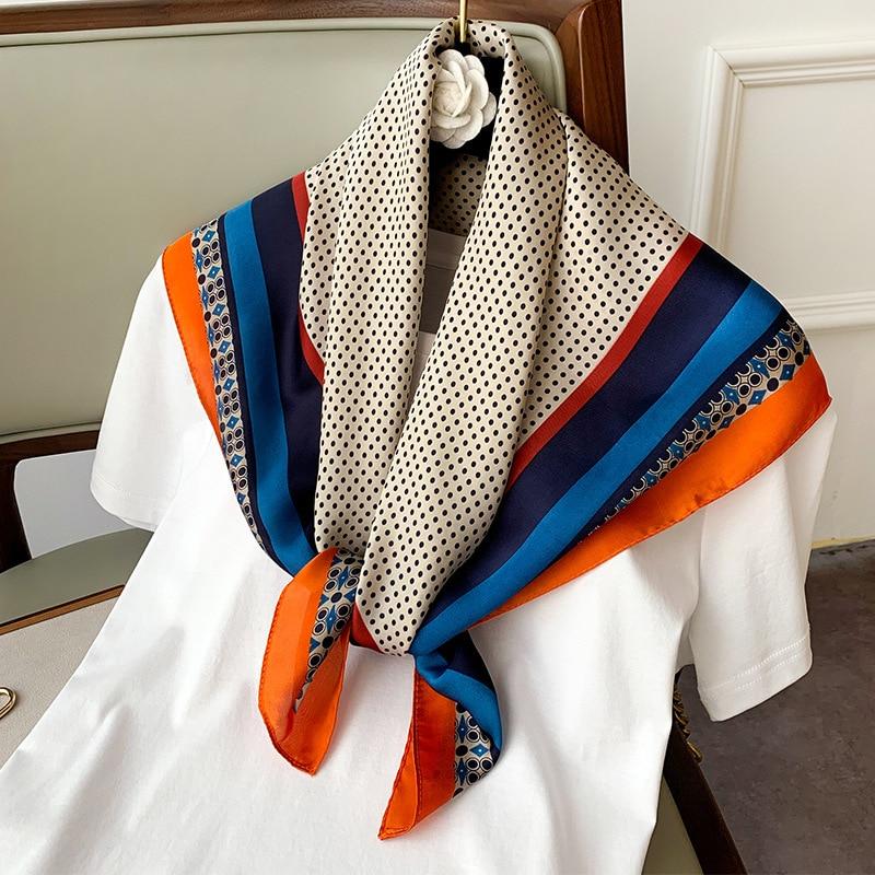 New 2020 Fashion Kerchief Small Silk Neck Scarf For Women 70*70 Hijab Scarfs Female Shawls Bags Scarves Lady Bandana Foulard