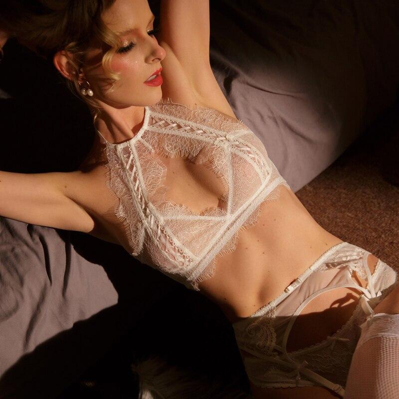 Image 2 - TERMEZY Fashion lace sexy Bra Set Push Up Seamless Lingerie Set Women Comfortable Bra and Panties Transparent Underwear SetBra & Brief Sets   -