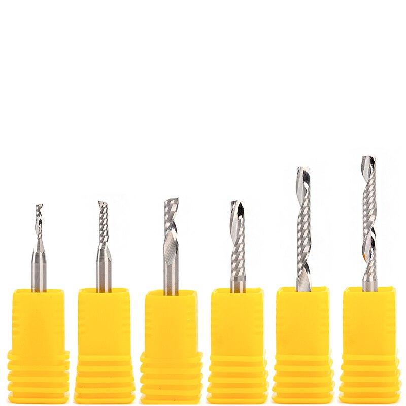 3pcs AAA Single Flute CNC Router Bit One Flute Spiral End Mills Carbide Milling Cutter Spiral PVC Cutter .175mm X 12mm 22mm 28mm