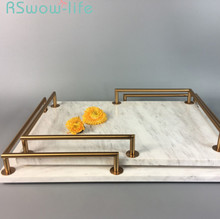 Simple And Light Luxury Marble Trays Decoration Jewelry Storage Trays Serving Tray Fruit Snack Dessert Tray For Home Storage retro household rectangular tea fruit tray jewelry luxury resin mirror beauty salon spa essential oil tray serving trays