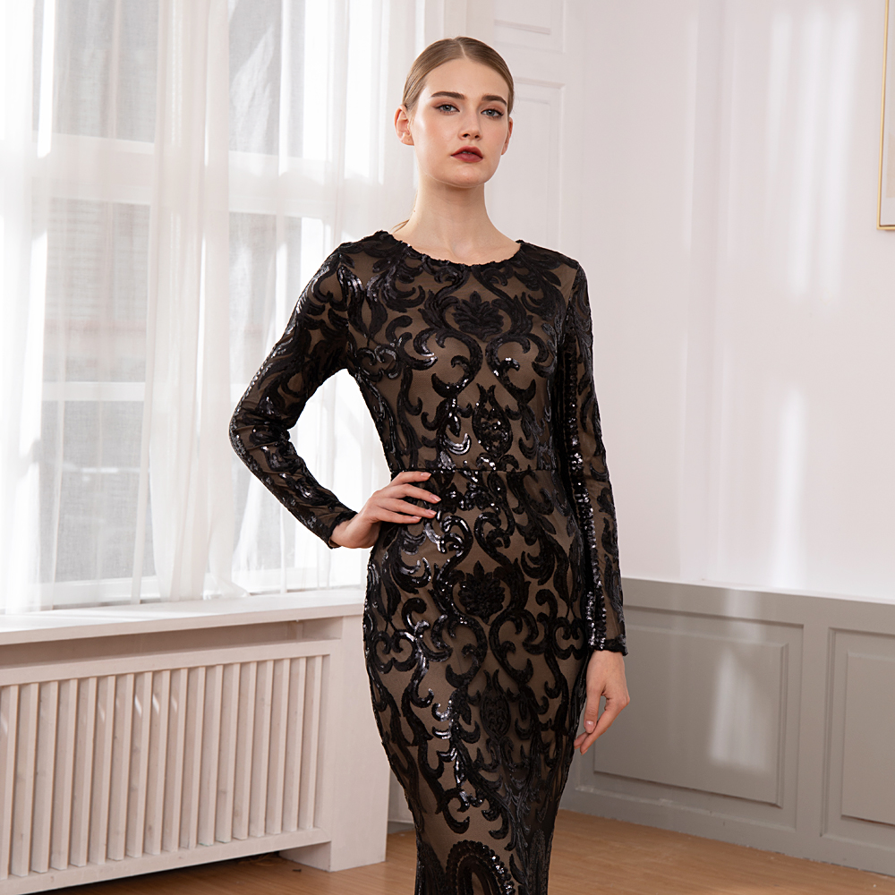 Maxi Dress Geometric Black Sequined Stretchy Full Sleeved Gold Party Dress O Neck Back Zipper Dress in Dresses from Women 39 s Clothing