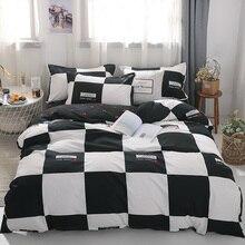 3/4 Uds. Juegos de cama de algodón blanco y negro con funda de edredón sábana de cama funda de almohada Linda raya ropa de cama King Queen tamaño doble completo