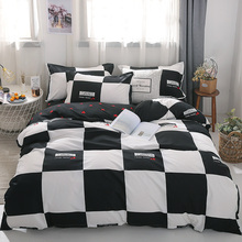 3/4Pcsผ้าฝ้ายสีดำและสีขาวชุดเครื่องนอนเตียงปลอกหมอนน่ารักลายเตียงผ้าลินินking Queen Full Twinขนาด