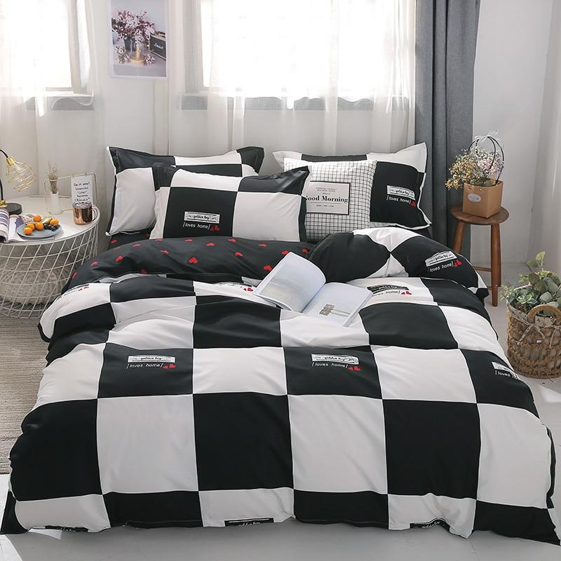 Cotton Bedding Set 4pcs With Duvet Cover Bed Sheet Pillowcase Children Stripe Bed Linen Set King Queen Full Twin Size