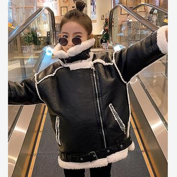 Children PU leather jacket faux Lamb fur stitching coat thicker warm outerwear for girls modis kids winter jackets Y2594