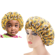 2PCS/SET Stain Silky Big Bonnet for Parent Kids African Print Hair Accessories Women Sleep Cap Headwrap Hat