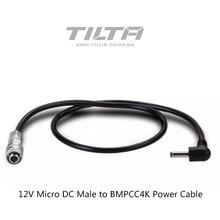 Tilta 12V Micro DC męski na BMPCC kamera 4K kabel zasilający dla BMPCC 4K moc baterii boczne uchwyty