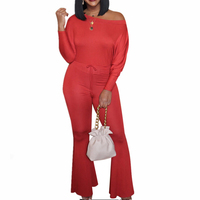 Slash Neck Little Flared Solid Jumpsuits Autumn Long Sleeve Winter Club Sexy Off Shoulder Romper Women Plus Size Casual Overalls